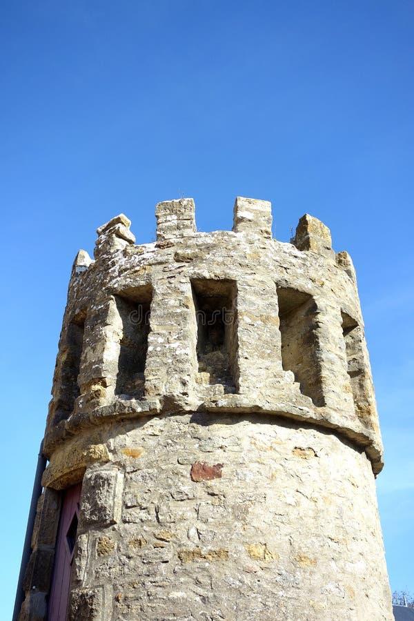 Classic Castle Tower Tourette with Blue Sky stock photo