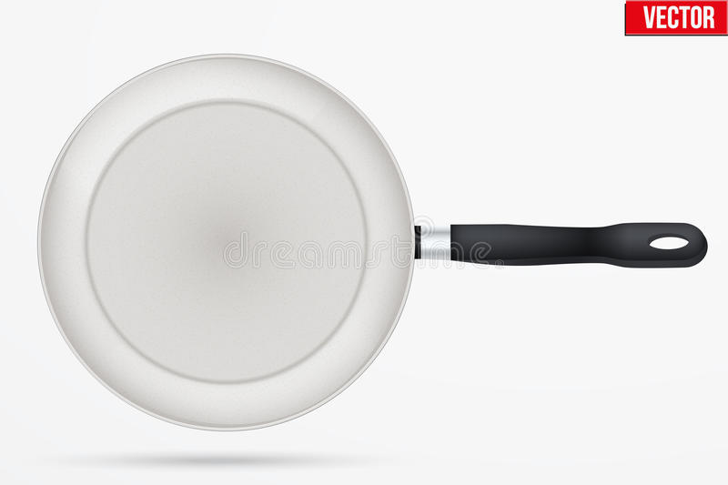 Classic Ceramic nonstick frying pan. With handle. Top view and round shape. Kitchen and domestic symbol. Vector Illustration isolated on background vector illustration