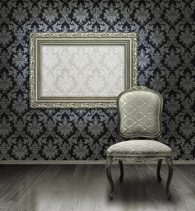 Free Classic Chair And Silver Frame Stock Images - 12162144