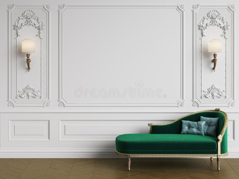 Classic chaise longue in classic interior with copy space stock illustration