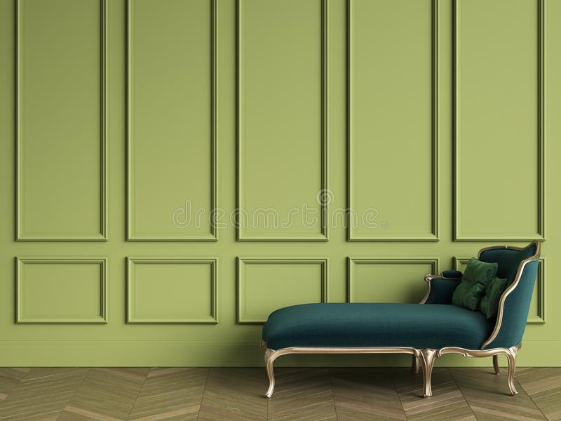 Classic chaise longue in emerald green and gold color in classic vector illustration