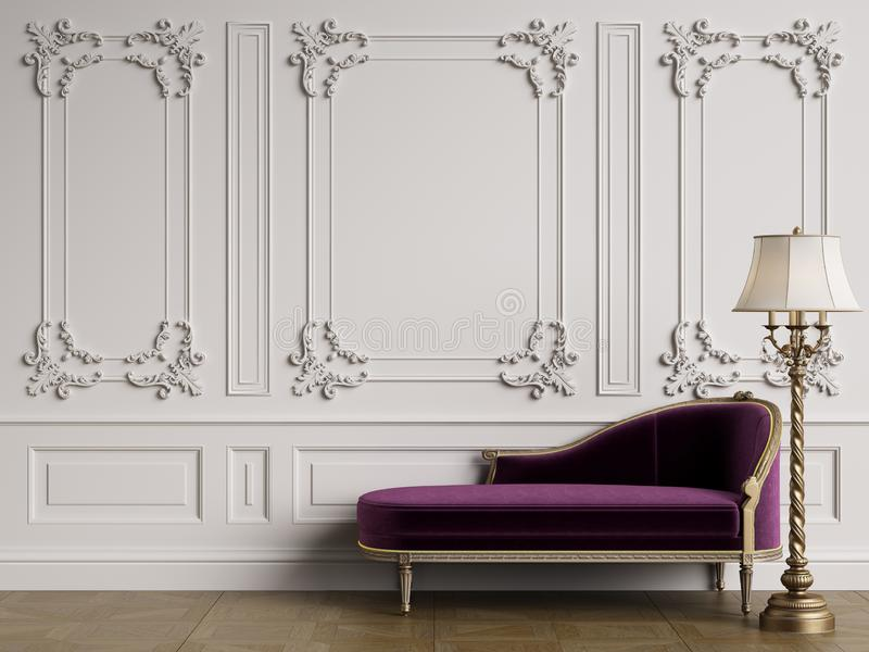 Classic chaise longue in classic interior with copy space vector illustration
