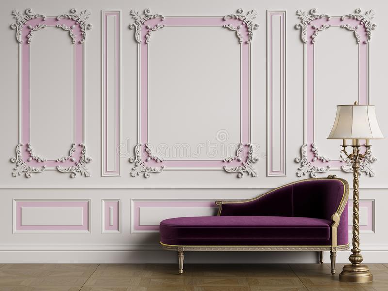 Classic chaise longue in classic interior with copy space royalty free illustration