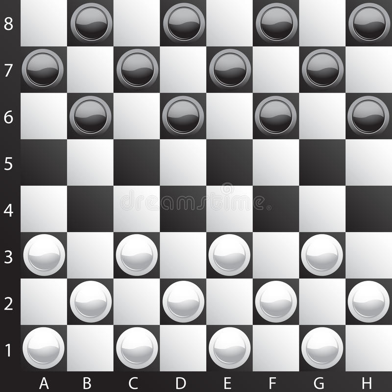 Classic checkers. Brilliant classic checkers, illustration (eps10); there are three layers:1)letters and numbers 2)board 3)checkers; Enjoy the game stock illustration