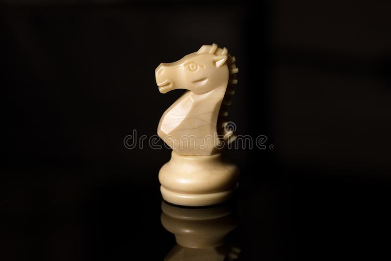 Classic Chess White Horse on black board,. Sports royalty free stock photography