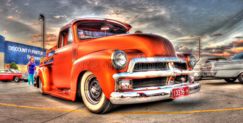 Classic Chevy pick up truck. Custom painted copper coloured Chevrolet pick up truck on display in Melbourne Australia royalty free stock photo