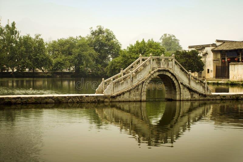 Classic china, moon bridge in hongcun stock photography