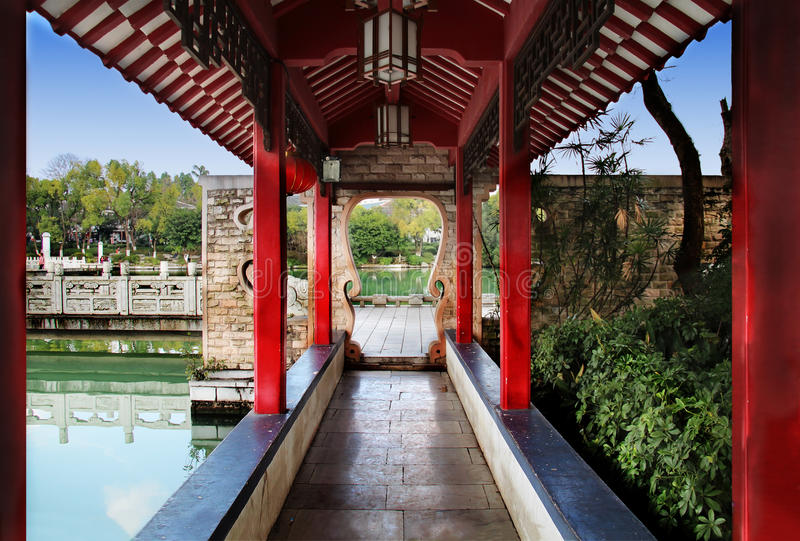 Classic Chinese Corridor in Guilin China royalty free stock photography