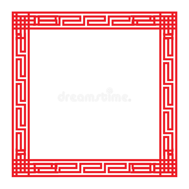 Classic Chinese red square frame. Vector royalty free illustration