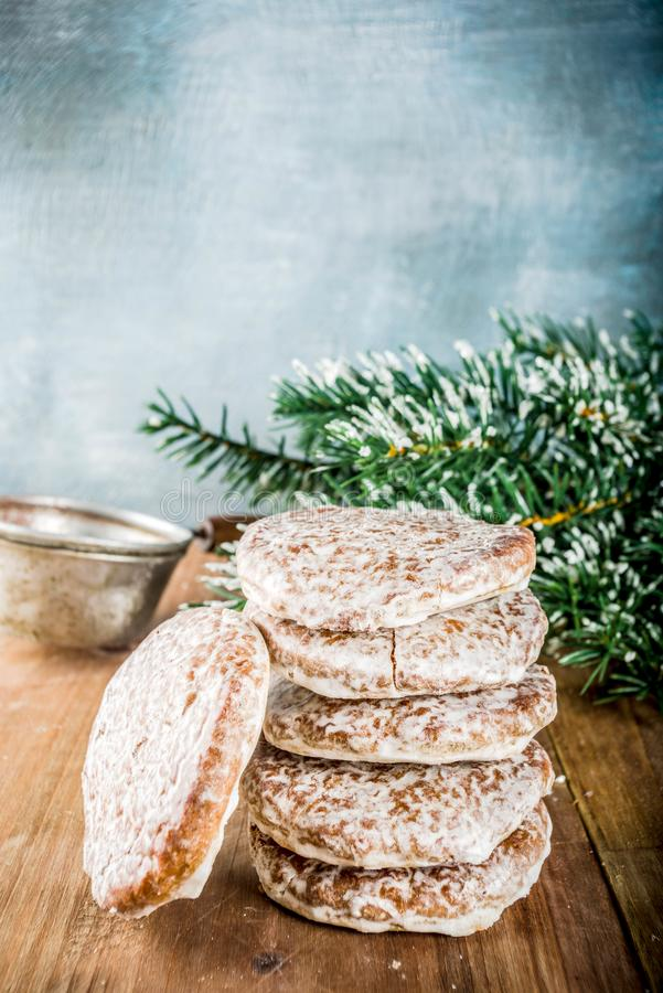 Classic christmas gingerbread cookies stock images