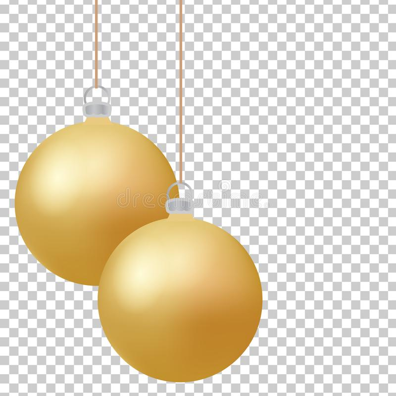 Classic christmas golden balls with glance. Isolated new year baubles design elements. Vector illustration royalty free illustration