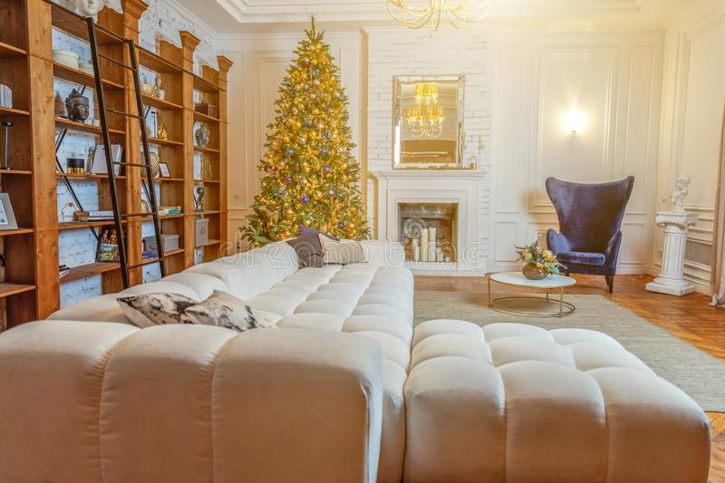 Classic christmas New Year decorated interior room royalty free stock photography