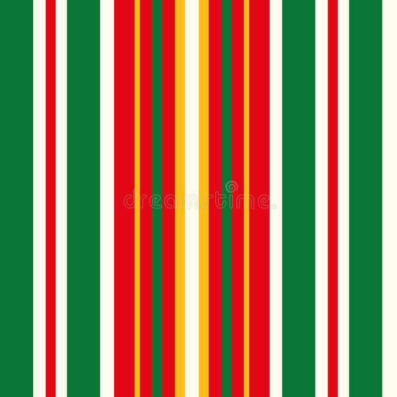 Classic Christmas stripe in red, green, gold and white. Seamless geometric vector pattern in traditional colors. Great stock illustration