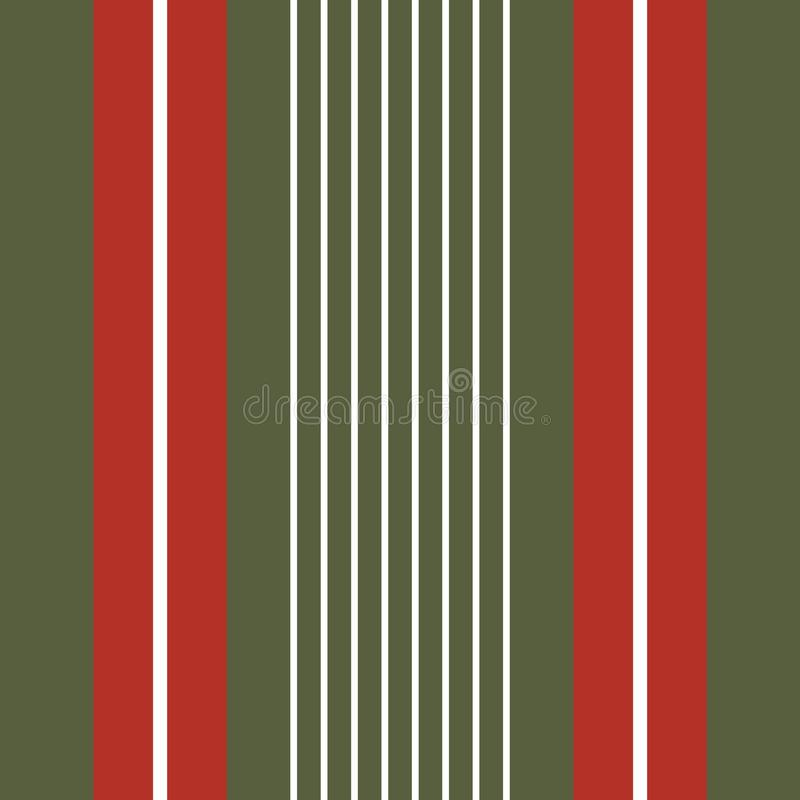 Classic Christmas vertical stripes in red, green and white. Seamless geometric vector pattern with traditional feel royalty free illustration