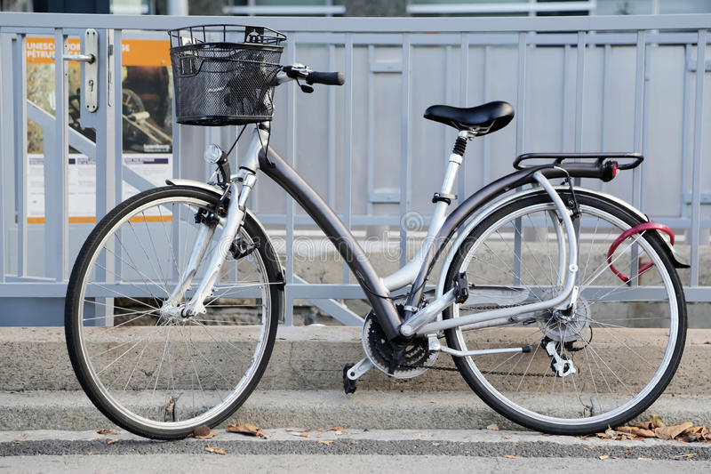 Classic city bicycle basket. Front stock photo