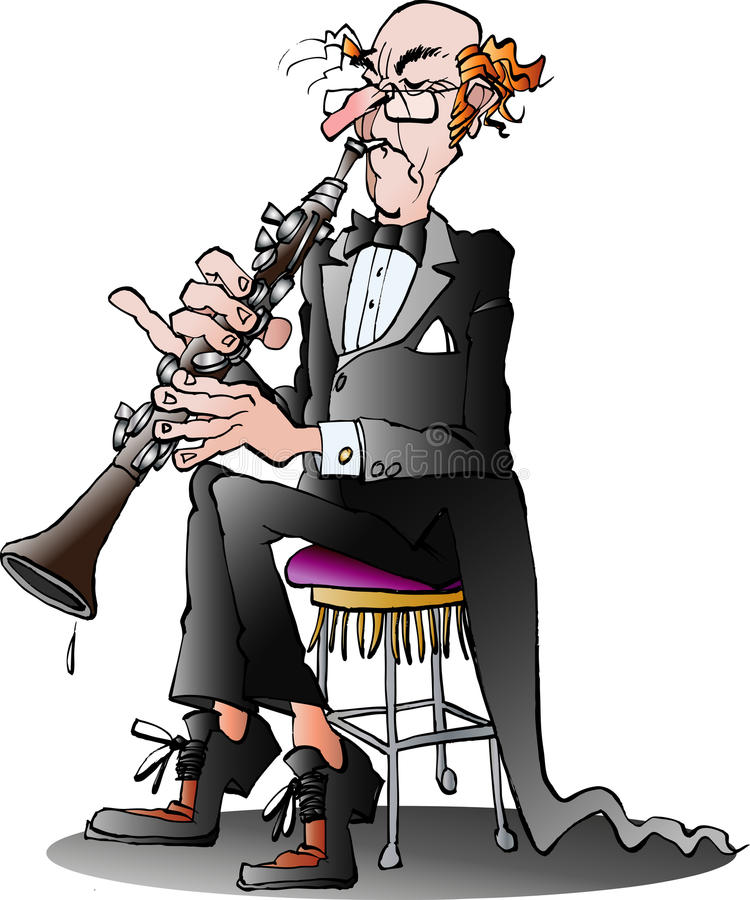 A classic clarinet player royalty free illustration