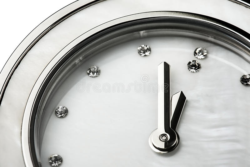 Classic Clock Diamonds Jewel Closeup Isolated stock image