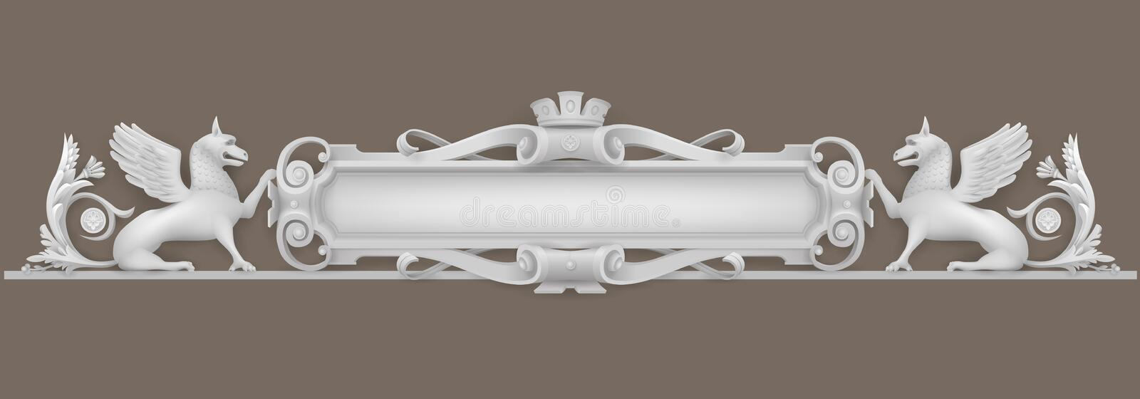 Classic coat of arms. Architectural element coat of arms, bas-relief for a building, windows or doors in the Baroque style. Vector graphics. Element of the cover stock illustration