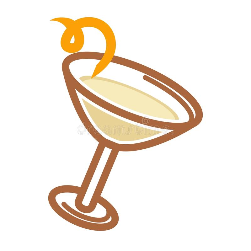 Classic cocktail with citron. Vector illustration of classic cocktail served with citron on the white background stock illustration