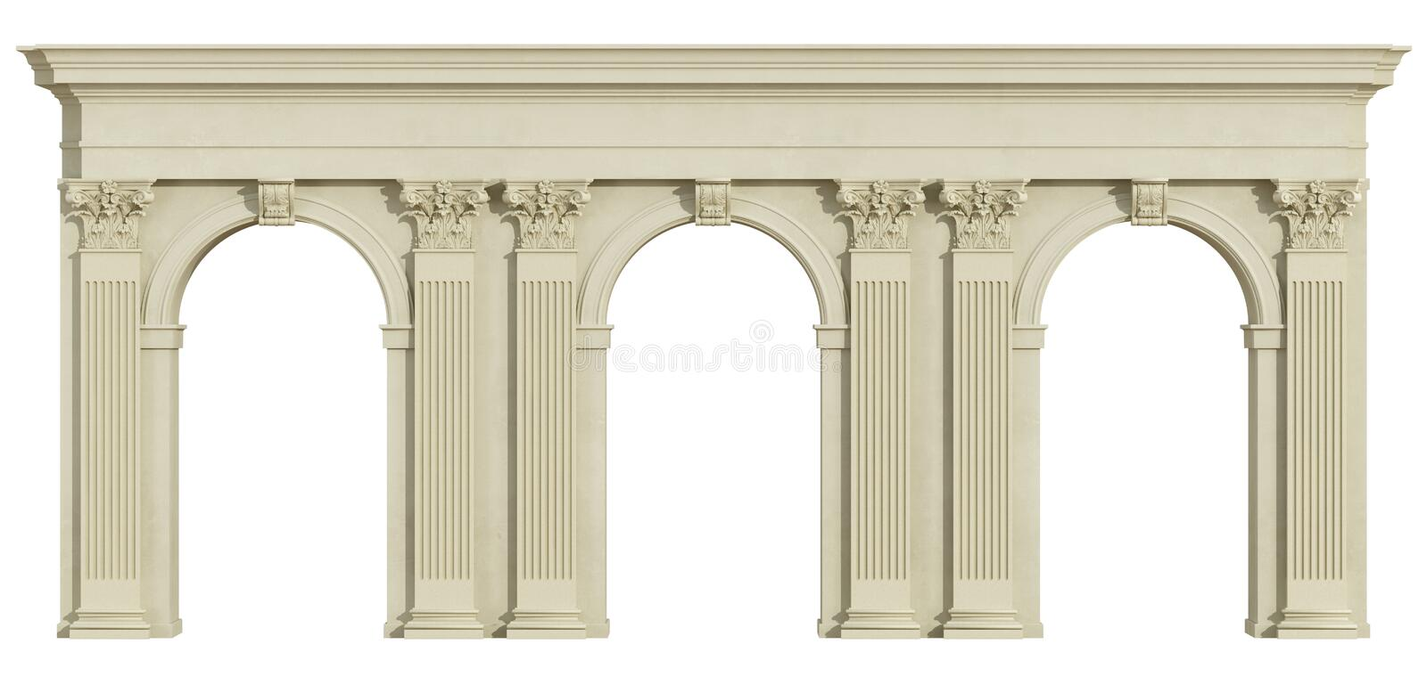 Classic colonnade on white. Classic colonnade with arch and corinthian column on white - 3d rendering stock illustration