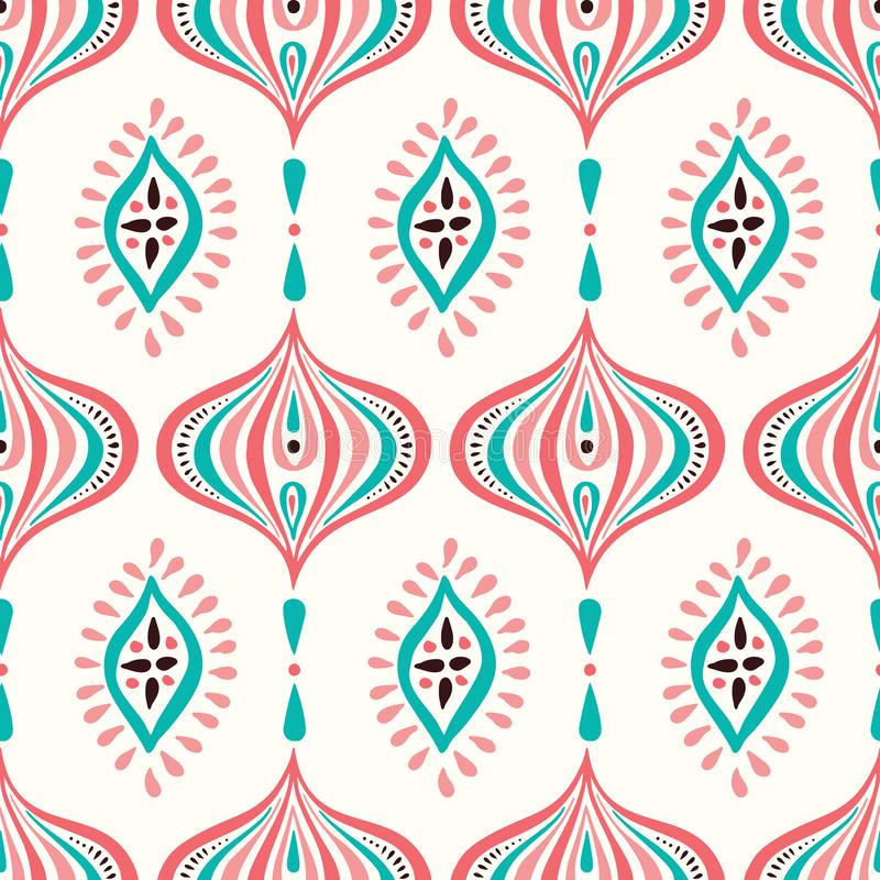Classic Colorful Handdrawn Ogee and Diamonds Vector Seamless Pattern. Retro Blue and Pink Elegant Traditional Background royalty free illustration