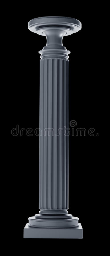 Classic Column isolated. On black background High resolution 3D royalty free stock images