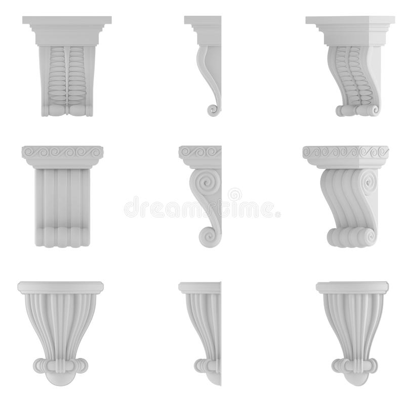 Classic column. Ornamental elements. At the white background royalty free illustration