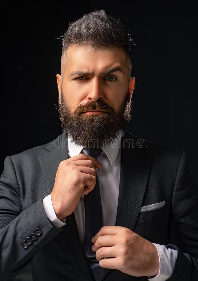 Classic costume and trend. Rich bearded man dressed in classic suits. Elegance casual dress. Fashion suit. Luxury mens. Clothing. Man in suit. Businessman royalty free stock photos
