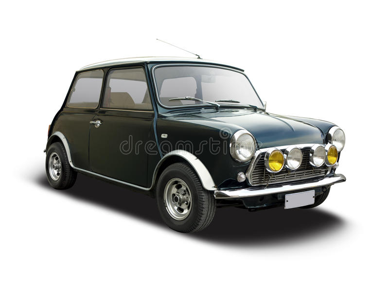 Classic cypress Mini Cooper. Classic Mini Cooper side view isolated on white royalty free stock photography