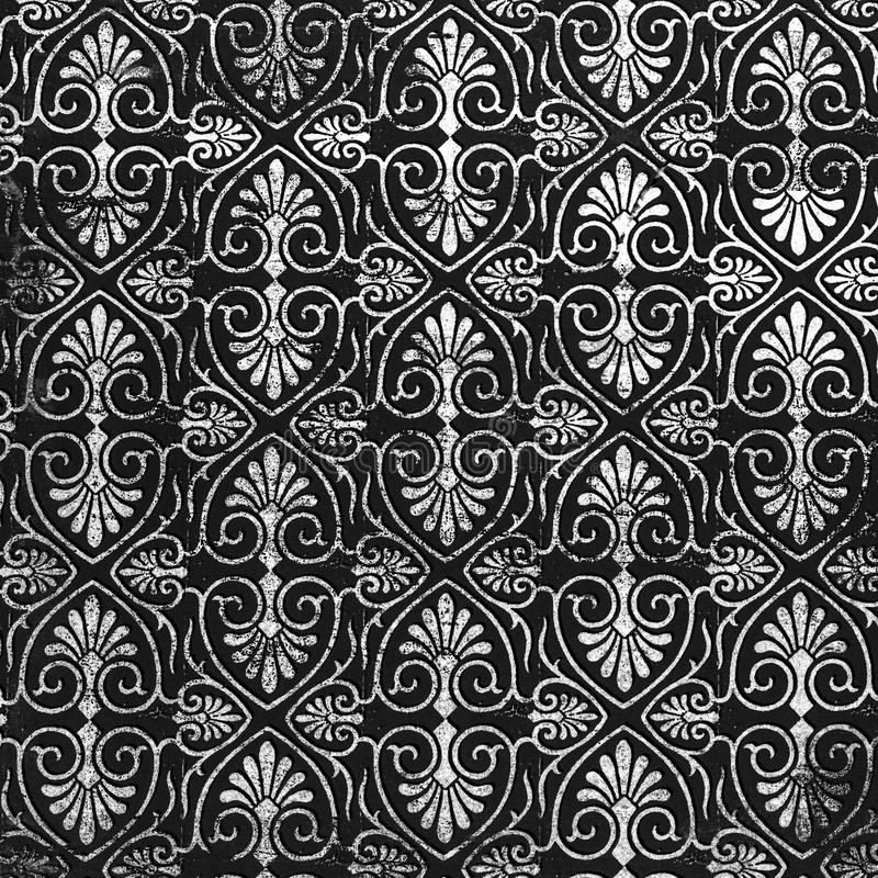 Classic damask patterned background. A lovely seamless pattern of a black and grey background of abstract repeat of leaf shapes on paper stock photos
