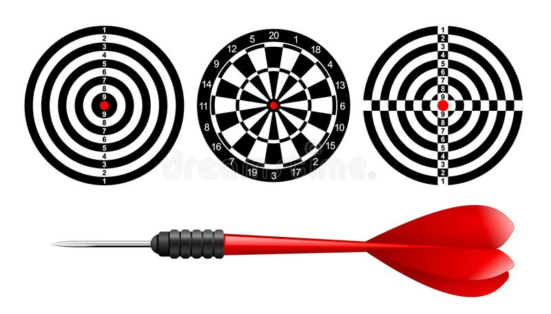 Classic dart board target set and darts red arrow isolated on white background. Vector Illustration. Black and white dartboard stock illustration