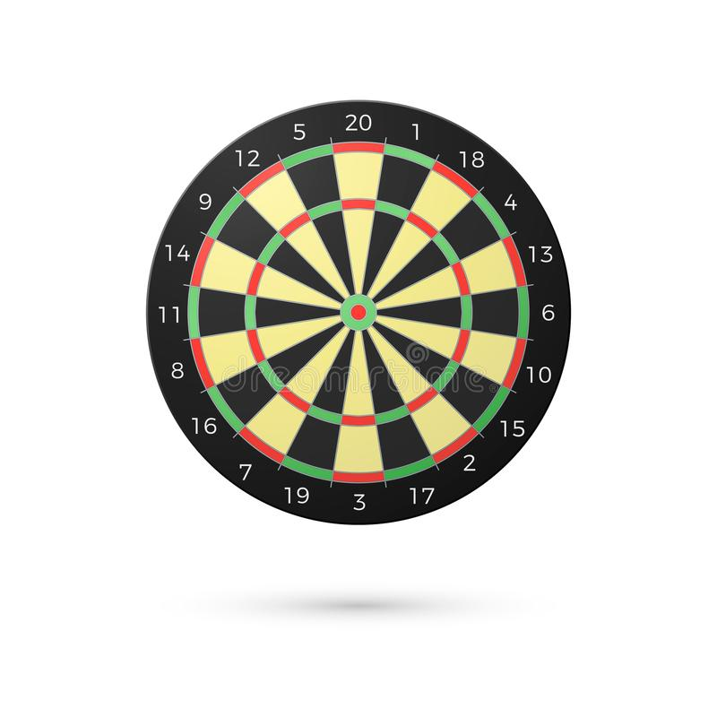 Classic Darts Board with twenty sectors. Realistic Dart boards. Game concept. Vector illustration isolated on white background vector illustration
