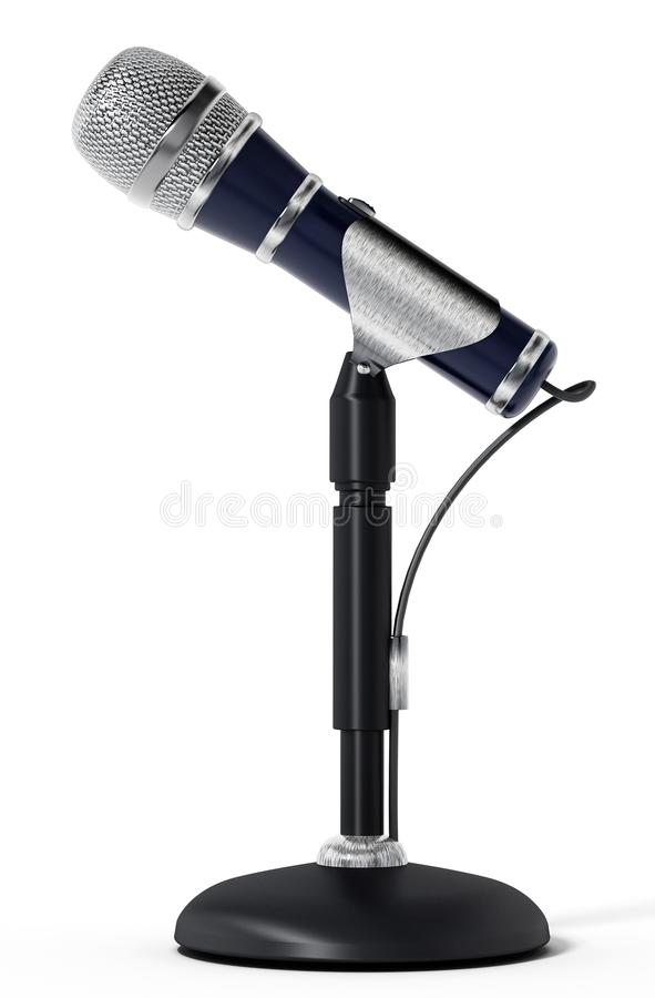 Classic design cable microphone with table stand. 3D illustration royalty free illustration