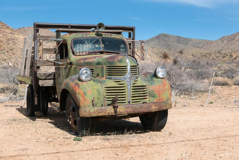 Classic old Dodge truck. Classic Dodge flatbed truck in the desert, Hackberry General Store stock photos