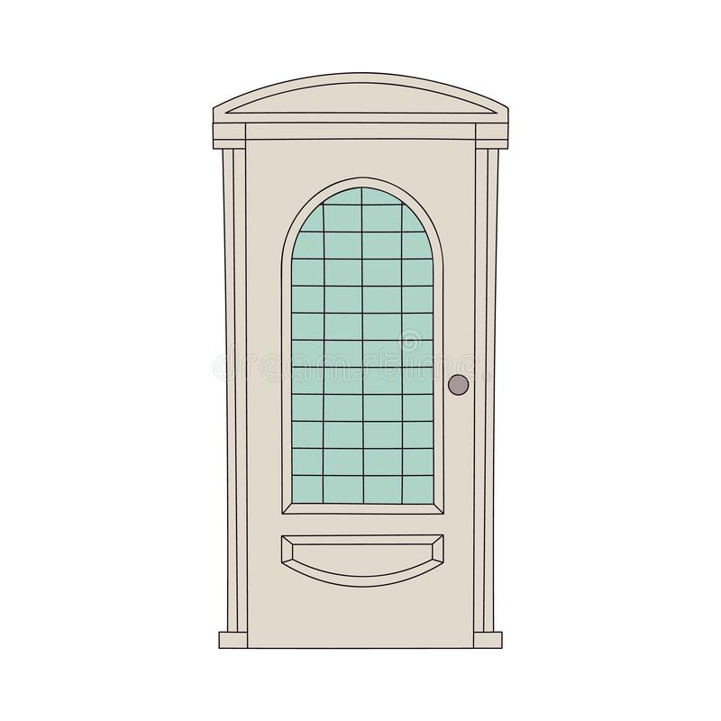 Classic door design with vintage frame, classical architecture wooden house entrance with glass window stock illustration