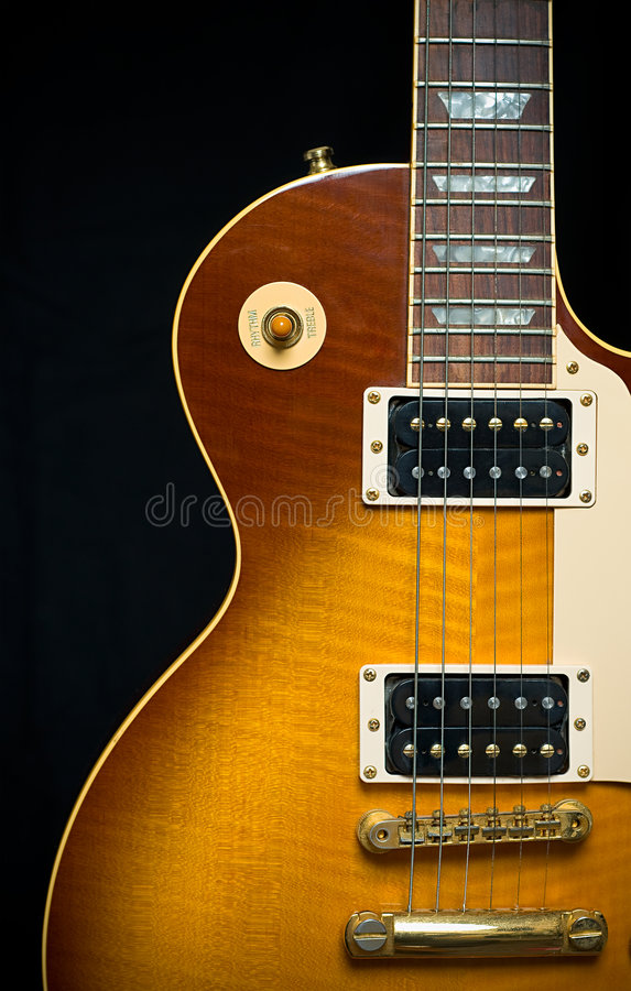 Classic Electric Guitar with Sunburst Finish stock photography