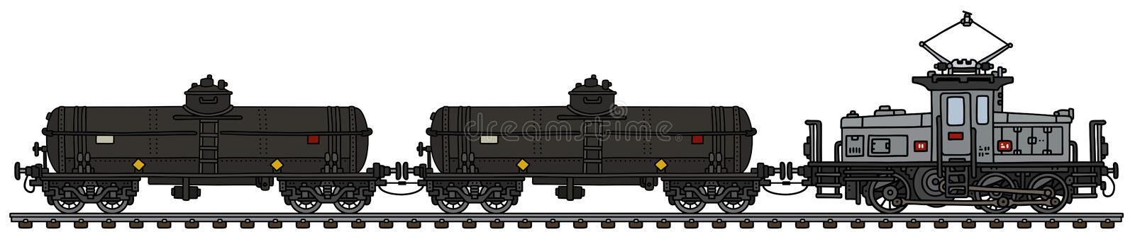 Classic electric tank train vector illustration