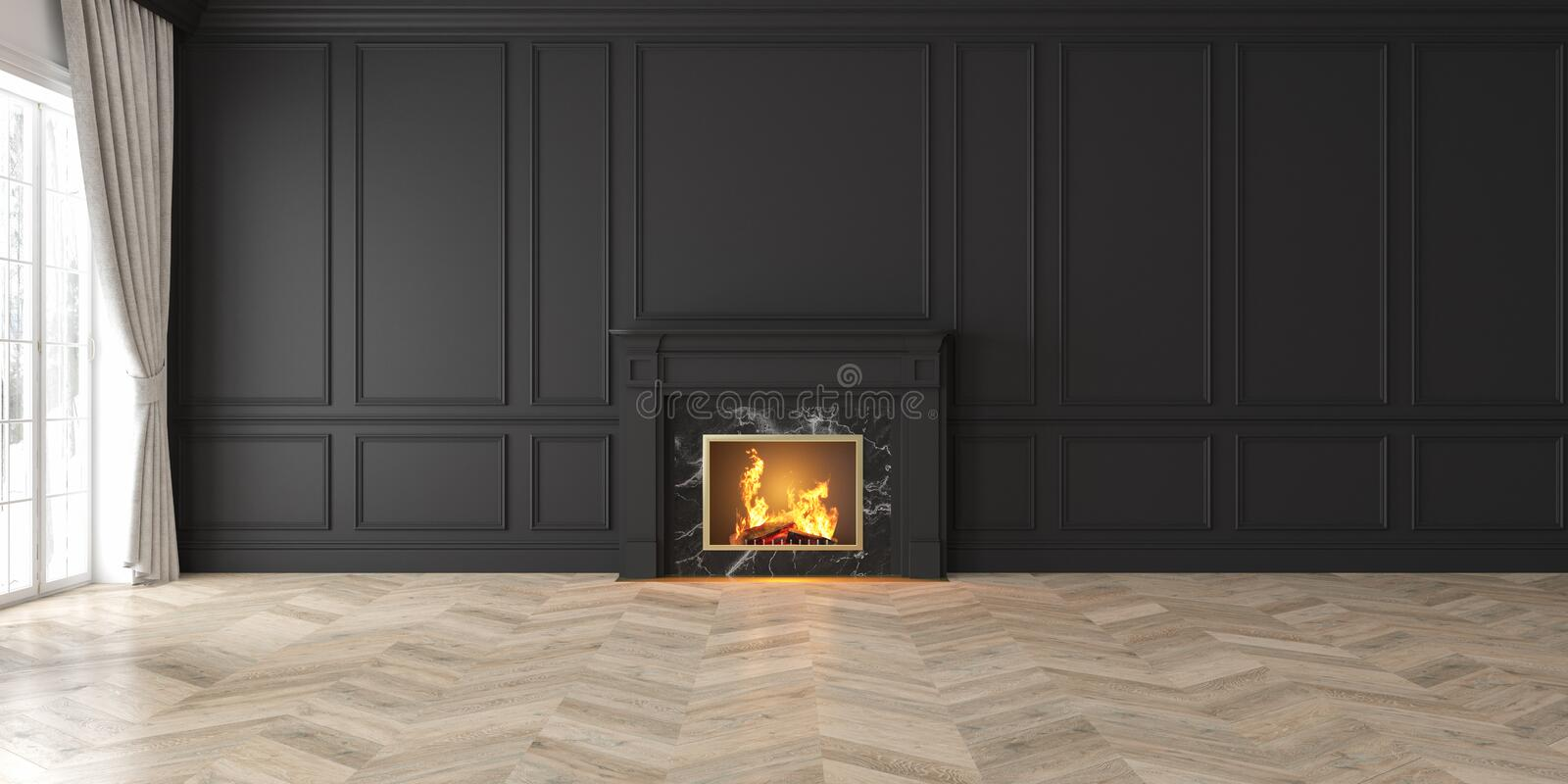 Classic empty black interior with fireplace, curtain, window, wall panels vector illustration