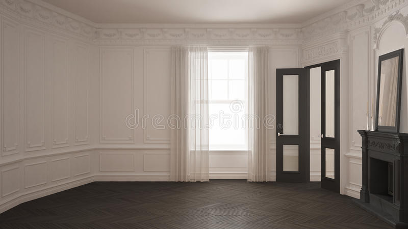 Classic empty room with big window, fireplace and herringbone wooden parquet floor, vintage white and gray interior design royalty free stock photo