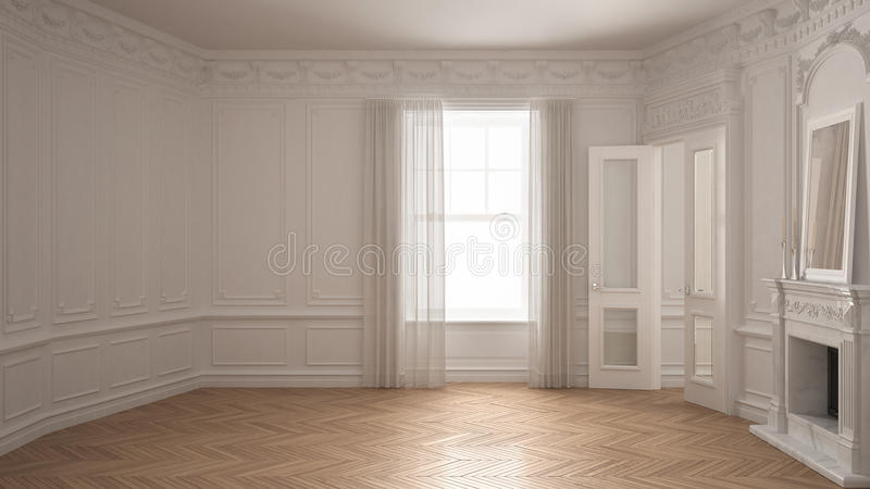 Classic empty room with big window, fireplace and herringbone wooden parquet floor, vintage white interior design stock illustration