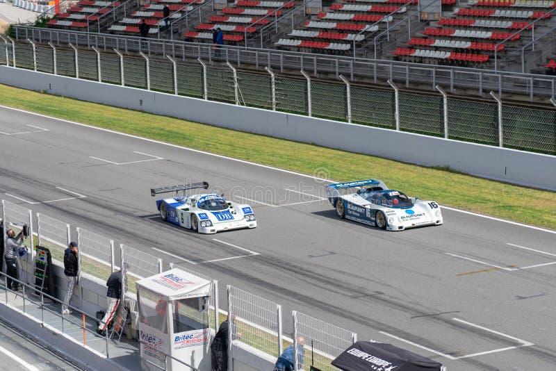 Classic endurance racing group C in montjuic spirit Barcelona circuit car show.  stock photo