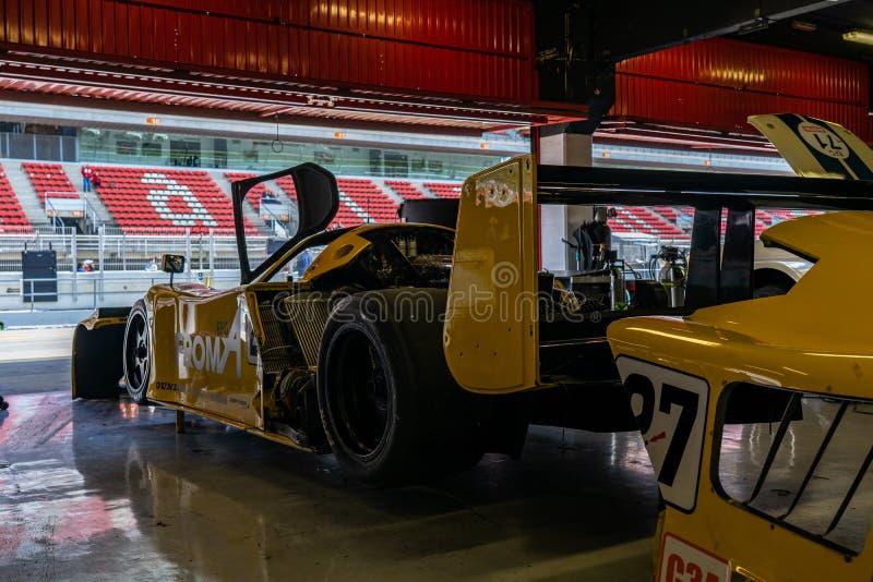 Classic endurance racing group C Nissan R90 in montjuic spirit Barcelona circuit car show.  royalty free stock photos