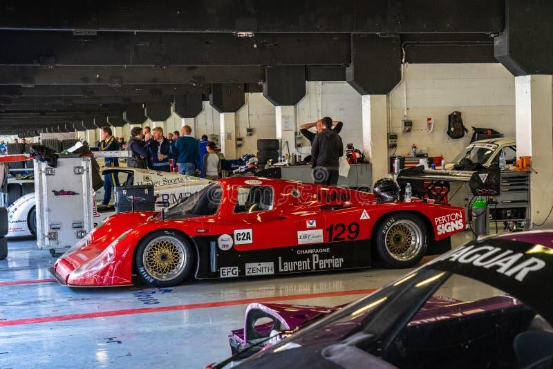 Classic endurance racing group C Tiga GC288 in montjuic spirit Barcelona circuit car show.  stock photography