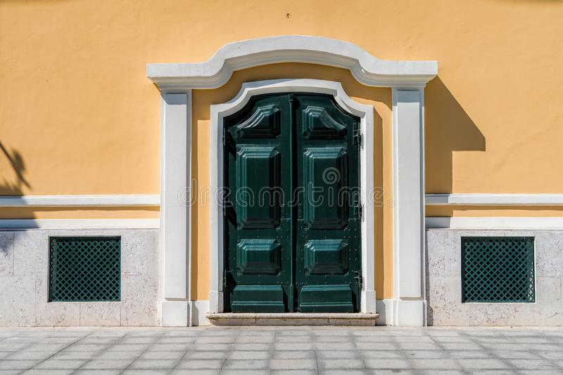 Classic European architecture. Close up historical building. Facade with architectural decorations in Lisbon stock photos