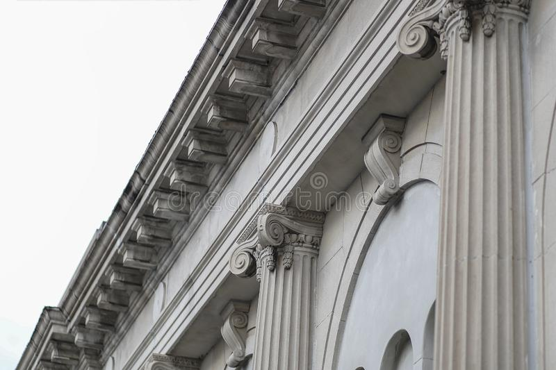 Classic Facade Column Building Roof royalty free stock photography