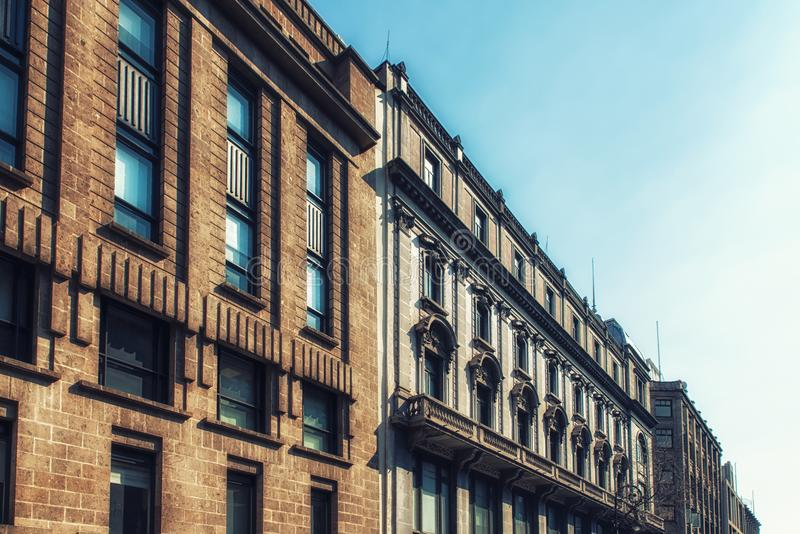 Facade of a historic building in the old part of Mexico City stock photo