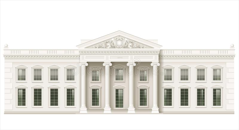 The classic facade of a public building. The facade of a classical public building is a Palace, a courthouse or a theater, a Parliament or a Museum. Classicism stock illustration