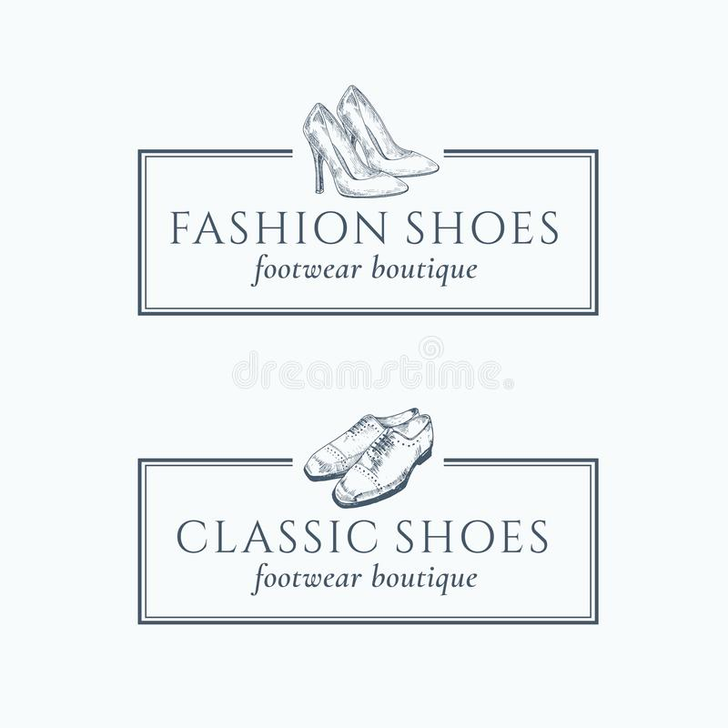 Classic Fashion Shoes Footwear Boutique Abstract Vector Signs. Symbols or Logo Templates Set. Hand Made Classic Shoes Illustration with Retro Typography and stock illustration