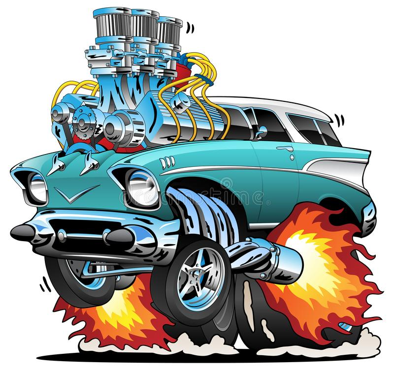 Classic Fifties Hot Rod Muscle Car Cartoon Vector Illustration. Awesome old school fifties style station wagon, popping a wheelie, huge chrome engine, three vector illustration