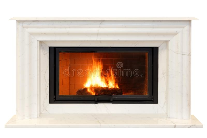 Classic fireplace of white Italian marble. Isolated on white royalty free stock photos